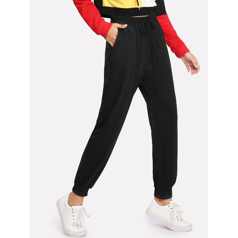 Sweatpants - Women's Trendy Black Mid Waist Sporty Tapered Carrot Crop Pant