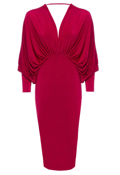 Red plunge front and back batwing midi dress