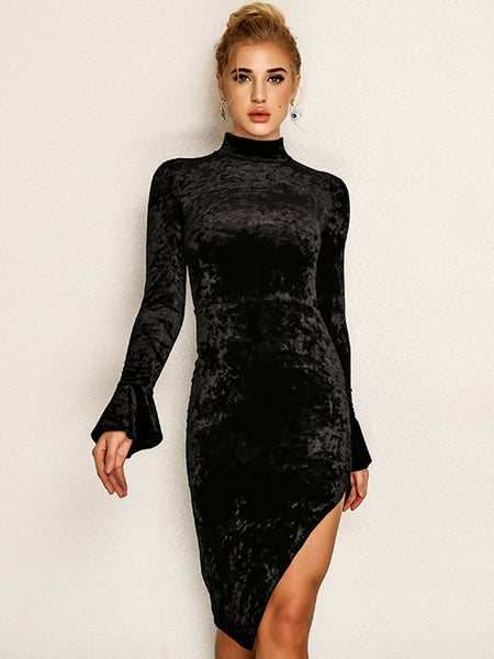 Black Joyfunear Flounce Sleeve Midi Dress