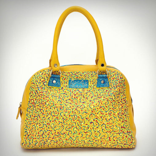 Yellow Bow Leather Satchel