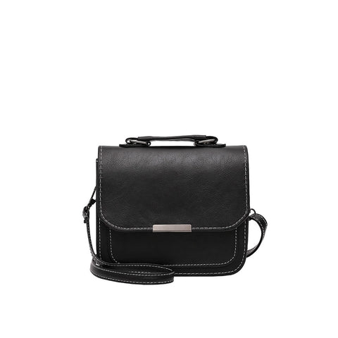 Black Metal Detail Flap Pu Shoulder Bag - Fashiontage