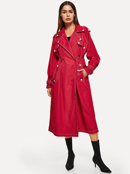 Red Contrast Stitch Raglan Sleeve Coat
