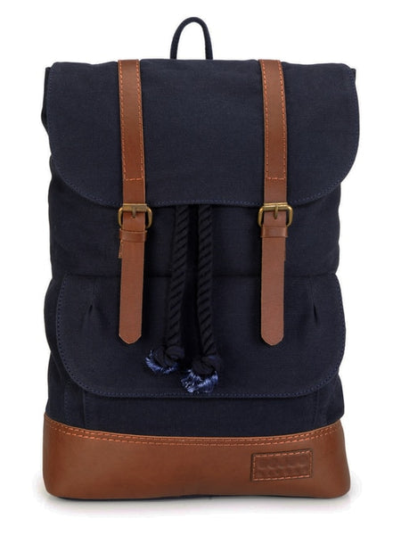 Blue Bridle Leather Trim Backpack