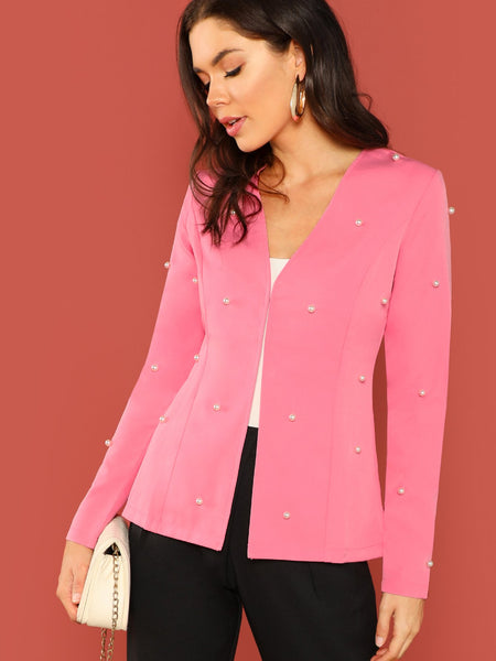 Pink Hook Front Pearl Detail Blazer