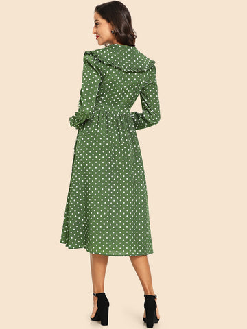 Army Green Frill Trim Polka Dot Print Dress