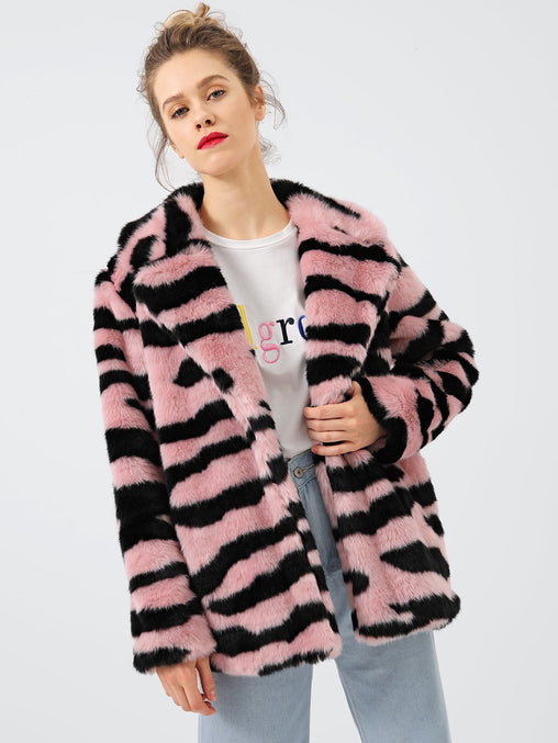 Multicolor Open Placket Faux Fur Teddy Coat