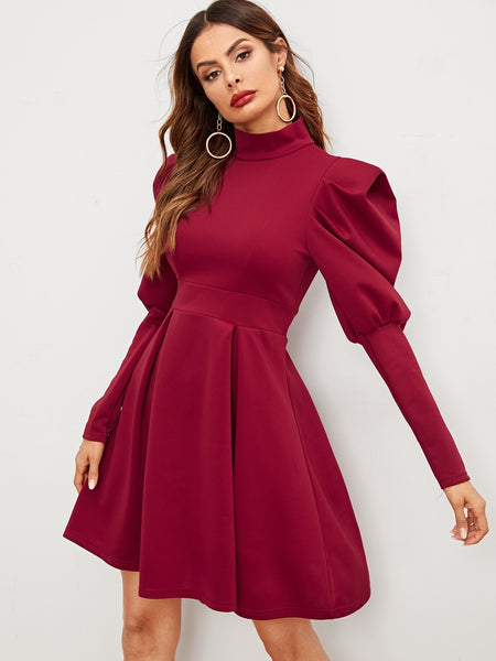 Burgundy High Neck Short Dress