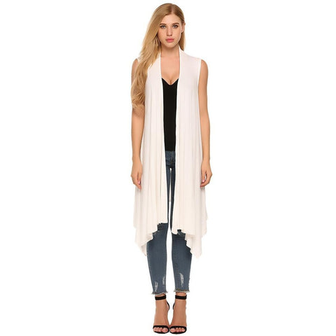 Plus Size Tops - Women's Trendy Plus Size Sleeveless Asymetric Hem Open Front Solid Cardigan Coat