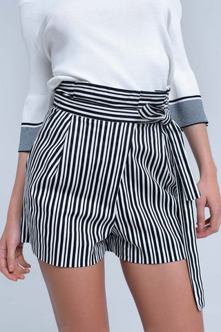 Jean Shorts - Women's Trendy Black High Waist Striped Trouser