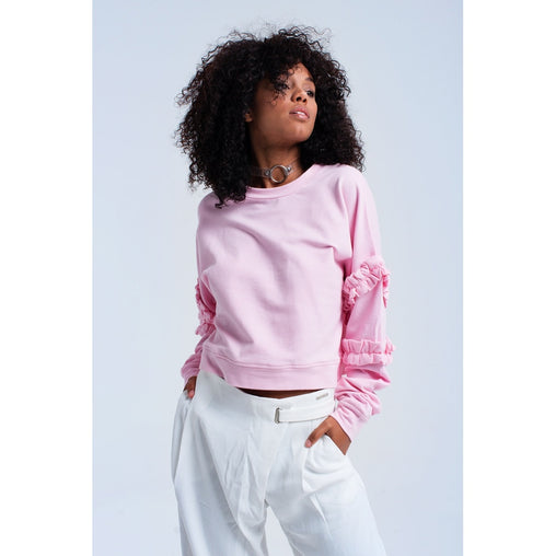 Pink Crew Neck Long Sleeve Sweatshirt