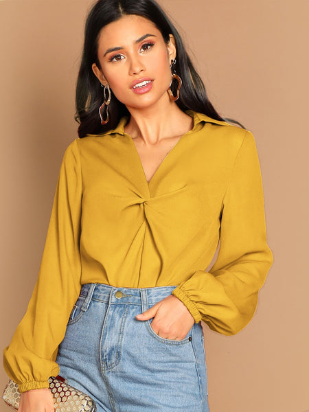 Ginger Twist Front Lantern Sleeve Top