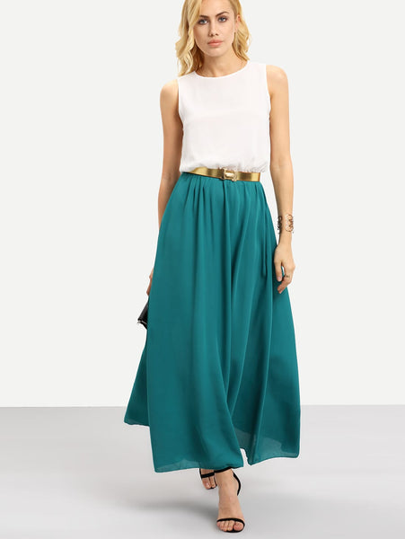 Color Block Floaty Chiffon Teal Maxi Dress