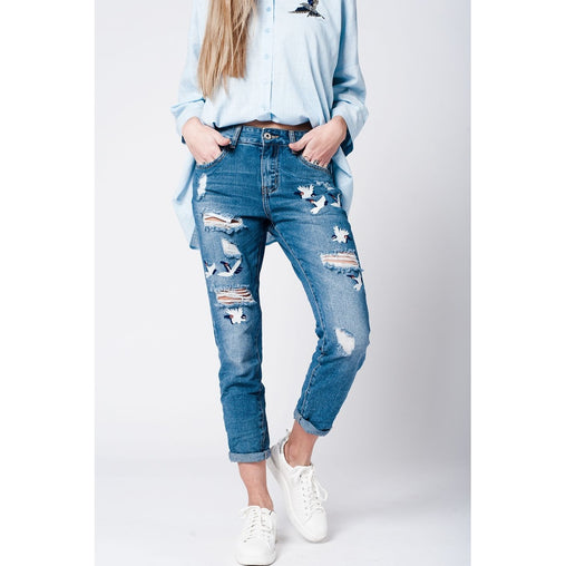 Blue Midrise Embroidery Straight Leg Jeans