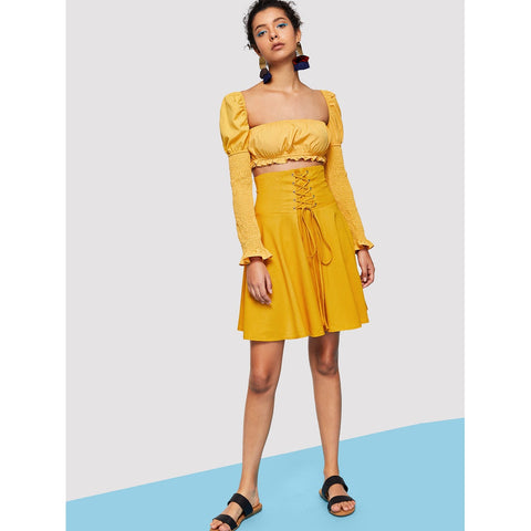 Yellow Ruffle Shirred Sleeve Fitted Top