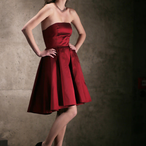 Red Silk Strapless Evening Dress