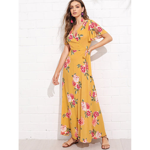 Yellow V-Neck Short Sleeve Floral Print Wrap Maxi Dress