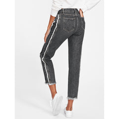 Frayed Trim Tapered Jeans - Fashiontage