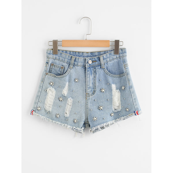 Jean Shorts - Women's Trendy Blue Regular Mid Waist Denim Shorts