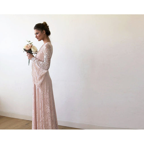 Blush Pink Lace Maxi Dress