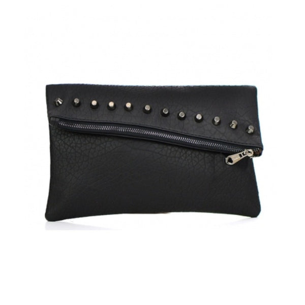 Studded Black Leather Clutch Bag