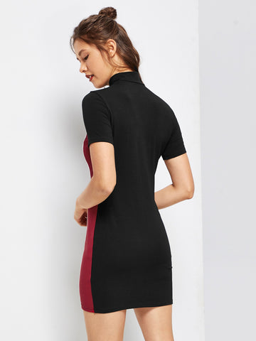 Day Dresses - Women's Trendy Zip Front Color Block Dress