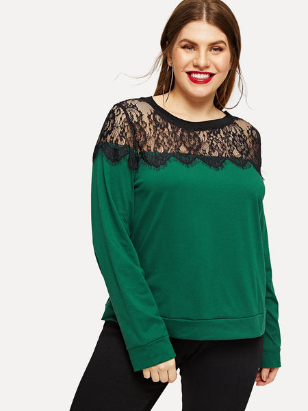Plus Size Green Eyelash Lace Yoke Sweatshirt