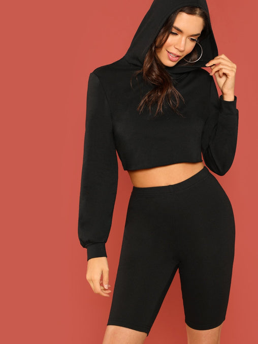 Black Long Sleeve Plain Top and Shorts set
