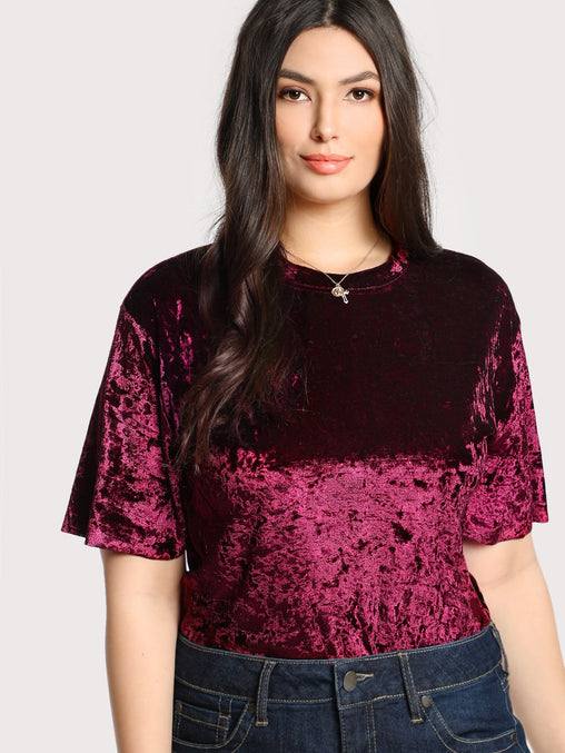 Plus Size Burgundy Solid Velvet T-shirt