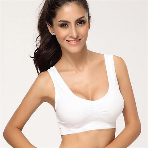 Yoga Fitness Crop Tops Sports Bra V-Neck Stretch Wire Free Pure Color