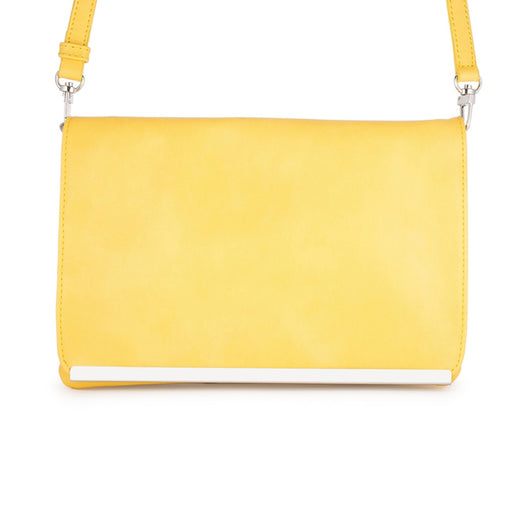 Yellow Faux Leather Clutch With Magnetic Snap Button Closure