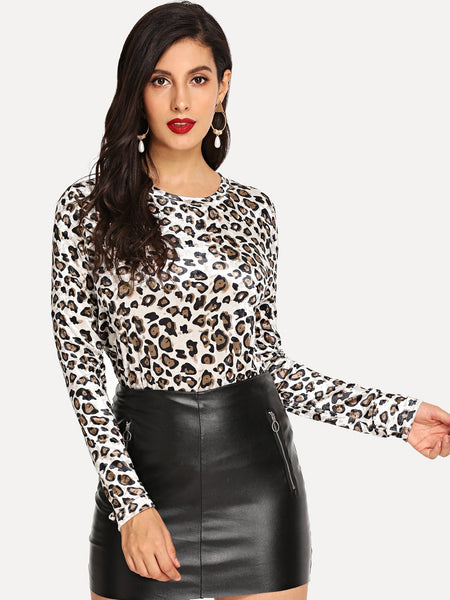 Multicolor Leopard Print Slim Fitted Tee