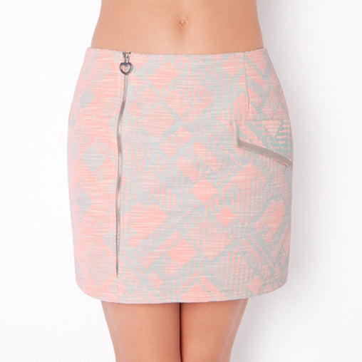 Pink Zipper Mini Skirt