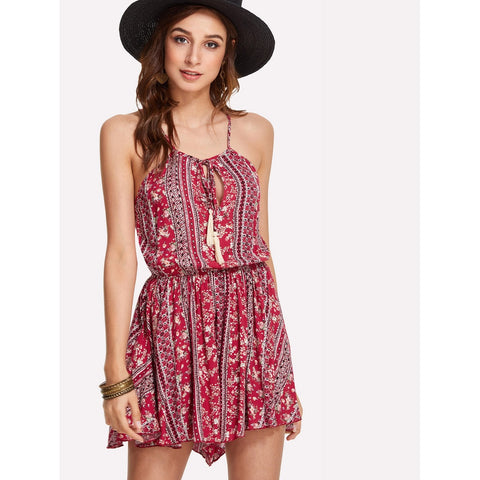 Red Tasseled Mixed Print Romper