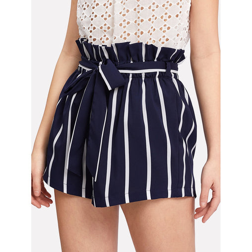 Belted Ruffle Waist Striped Shorts - Fashiontage