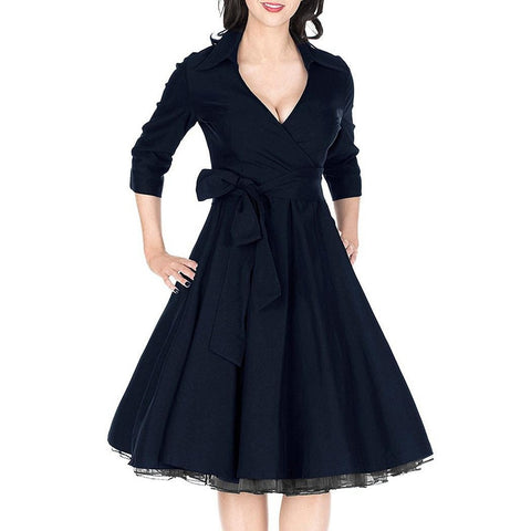 Casual Dresses - Women's Trendy Black V-Neck 3/4 Sleeve Length Swing Dress