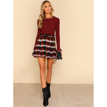 Plaid Print Paneled Skirt - Fashiontage