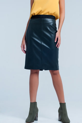 Waisted Skirts - Women's Trendy Green Mini Leather Pencil Skirt