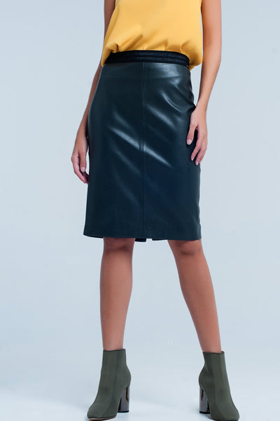 Green Mini Leather Pencil Skirt