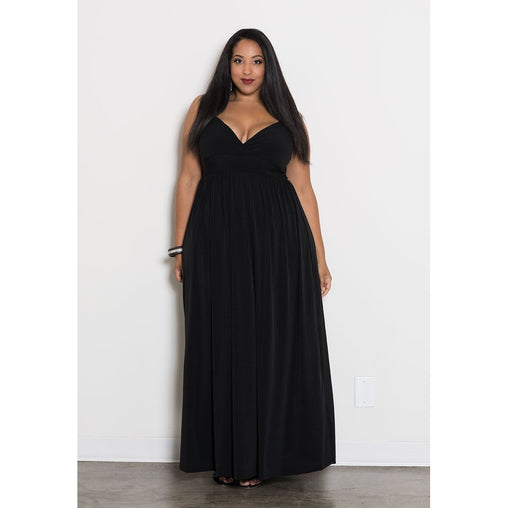 Plus Size Black Spaghetti Strap Maxi Dress