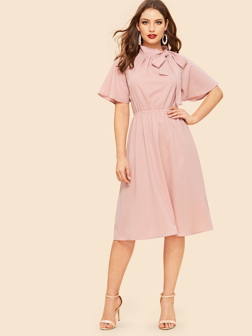Pink Tie Neck Flutter Sleeve Midi Dress
