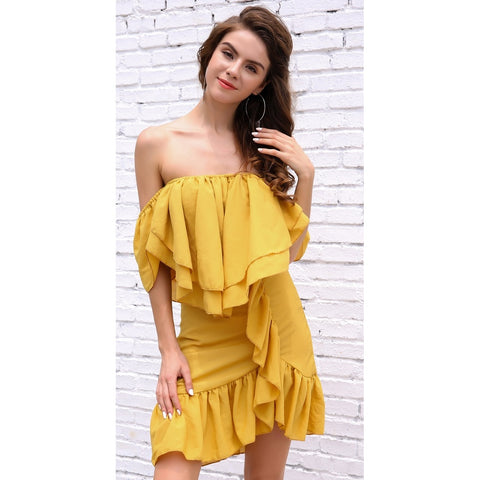 Bridal Dresses - Women's Trendy Yellow Off Shoulder Casual Party Dress