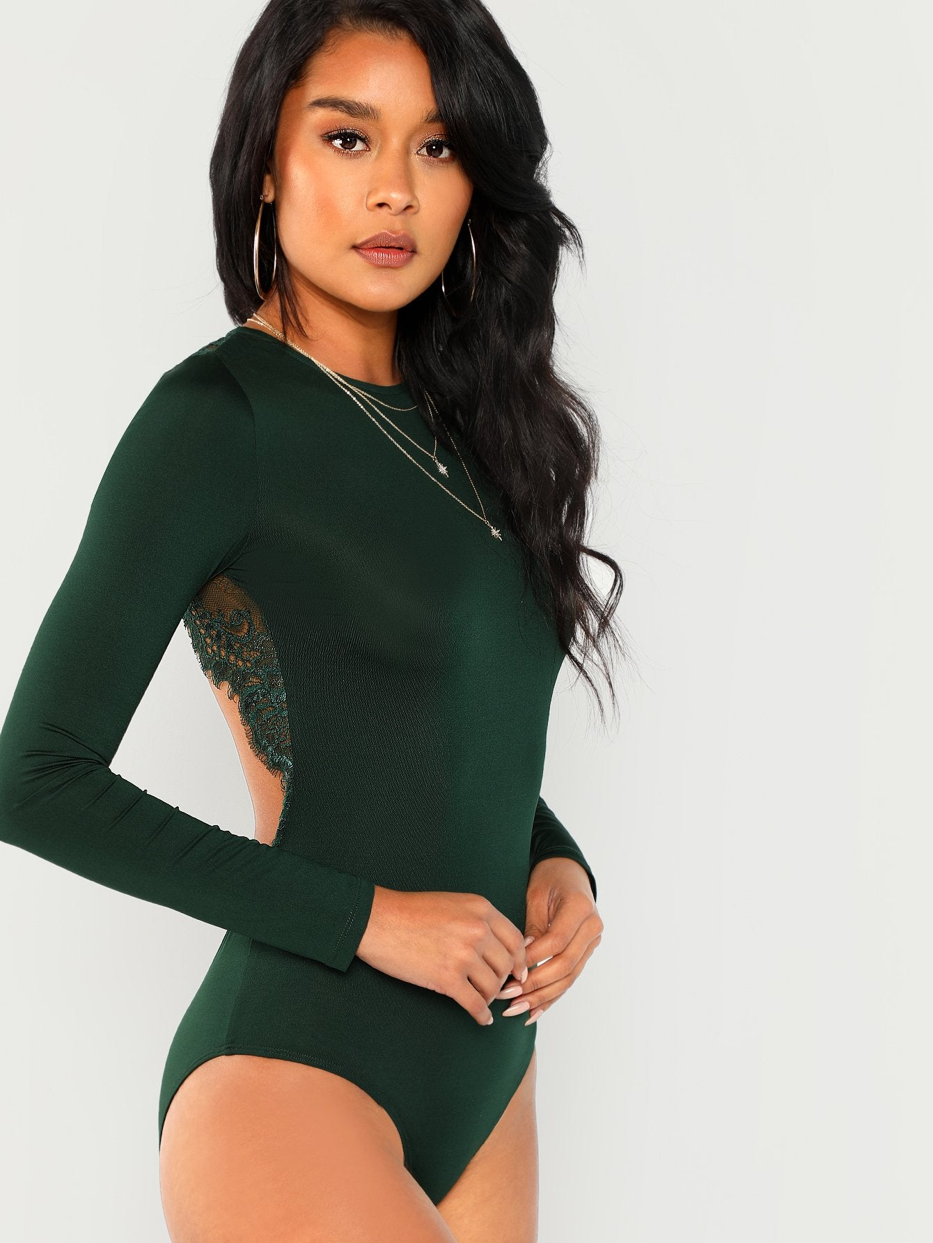 Bodysuits - Women s Green Lace Contrast Backless Skinny Bodysuit at ... 2921e35fc
