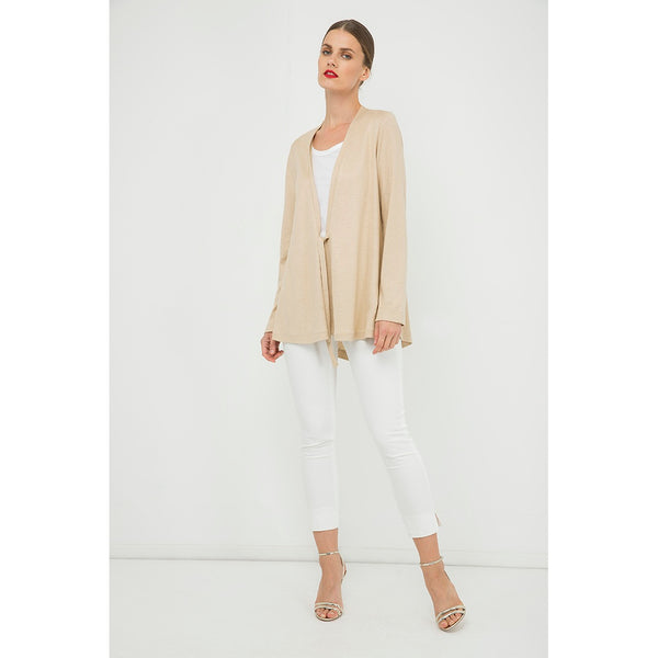 Cardigans - Women's Trendy Beige Long Sleeve Openfront Cardigan
