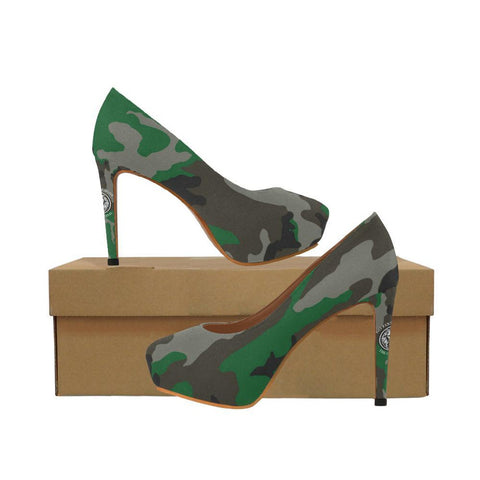 Green Rubber High Heel Pumps - Fashiontage