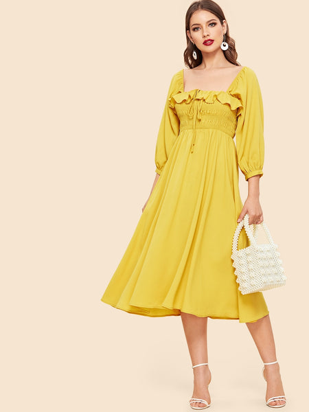 Yellow Ruffle Trim Long Dress