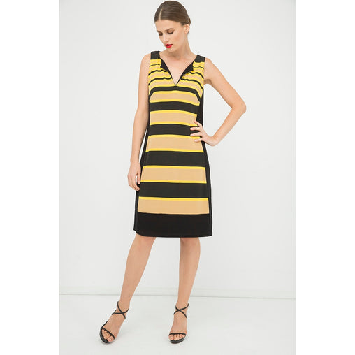 Yellow Sleeveless Stripe A Line Dress - Fashiontage