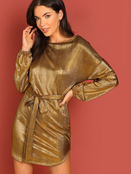 Gold Pleated Metallic Waist Tie Long Sleeve Shift Dress