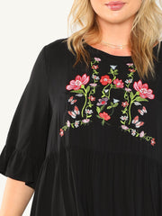Plus Size Black Embroidered Midi Dress