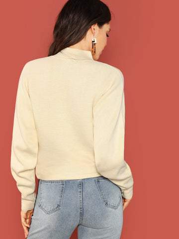 Beige Neckline Cut Out Rib Knit Pullover Sweater