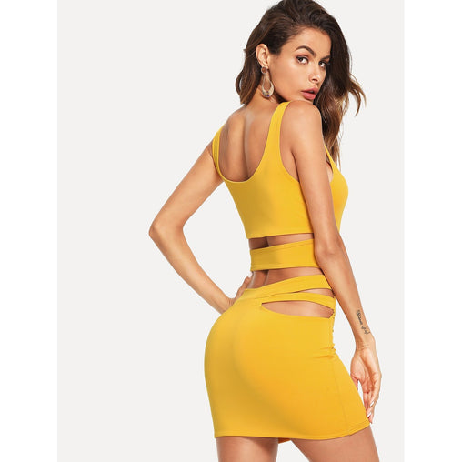 Yellow Cut Out Back Scoop Neck Dress